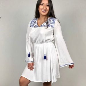 White Bell Sleeve Stretch Summer Vacation Dress
